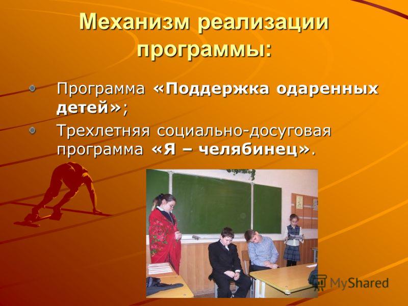 Механизм реализации программы: Программа «Поддержка одаренных детей»; Трехлетняя социально-досуговая программа «Я – челябинец».