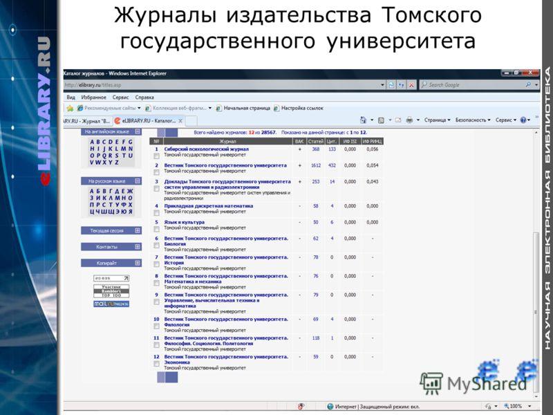 Журналы издательства Томского государственного университета