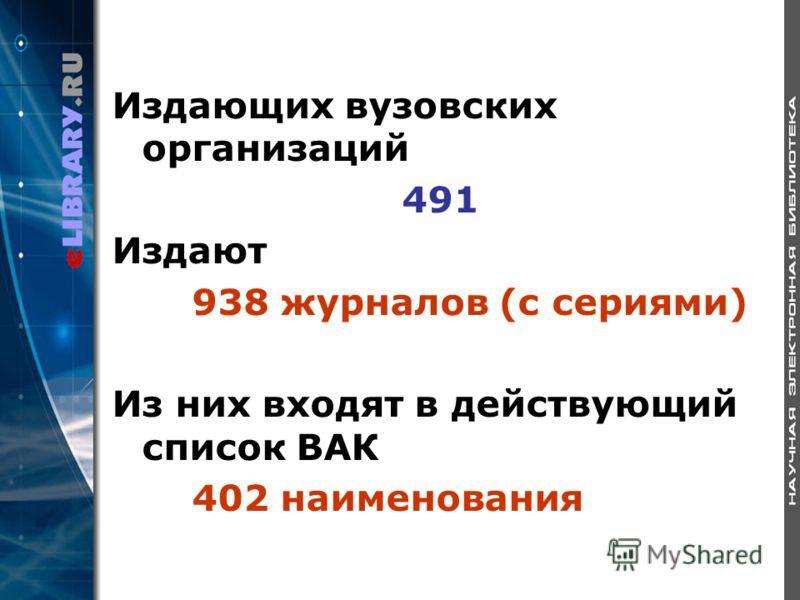 Издающих вузовских организаций 491 Издают 938 журналов (с сериями) Из них входят в действующий список ВАК 402 наименования