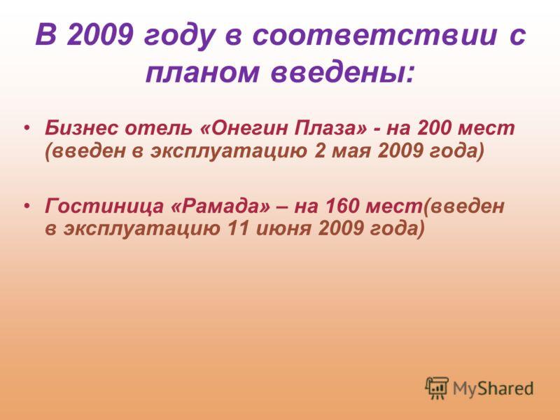 Бизнес отель «Онегин Плаза» - на 200 мест (введен в эксплуатацию 2 мая 2009 года) Гостиница «Рамада» – на 160 мест(введен в эксплуатацию 11 июня 2009 года) В 2009 году в соответствии с планом введены: