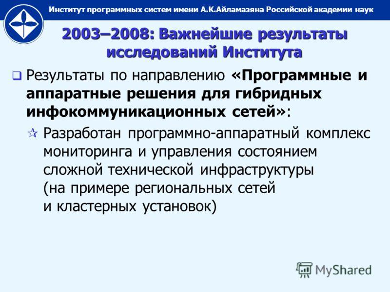 Институт программных систем имени А.К.Айламазяна Российской академии наук 2003–2008: Важнейшие результаты исследований Института Результаты по направлению «Программные и аппаратные решения для гибридных инфокоммуникационных сетей»: Разработан програм