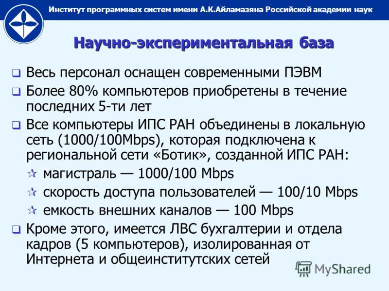 Институт программных систем имени А.К.Айламазяна Российской академии наук Научно-экспериментальная база Весь персонал оснащен современными ПЭВМ Более 80% компьютеров приобретены в течение последних 5-ти лет Все компьютеры ИПС РАН объединены в локальн