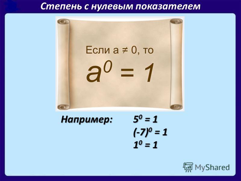 Степень с нулевым показателем Например: 5 0 = 1 (-7) 0 = 1 1 0 = 1