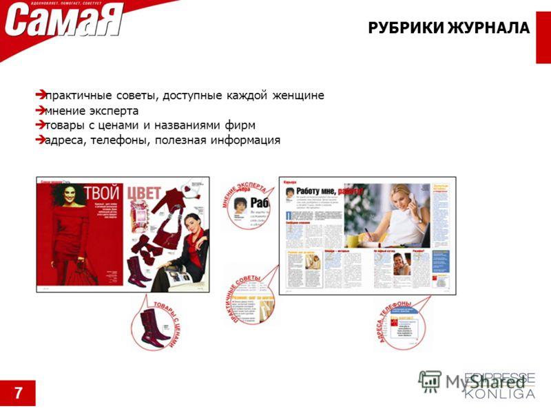 РУБРИКИ ЖУРНАЛА практичные советы, доступные каждой женщине мнение эксперта товары с ценами и названиями фирм адреса, телефоны, полезная информация 7