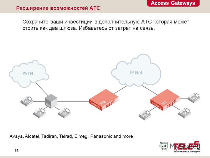 Access Gateways 14 Avaya, Alcatel, Tadiran, Telrad, Elmeg, Panasonic and more Расширение возможностей АТС Сохраните ваши инвестиции в дополнительную АТС которая может стоить как два шлюза. Избавьтесь от затрат на связь.