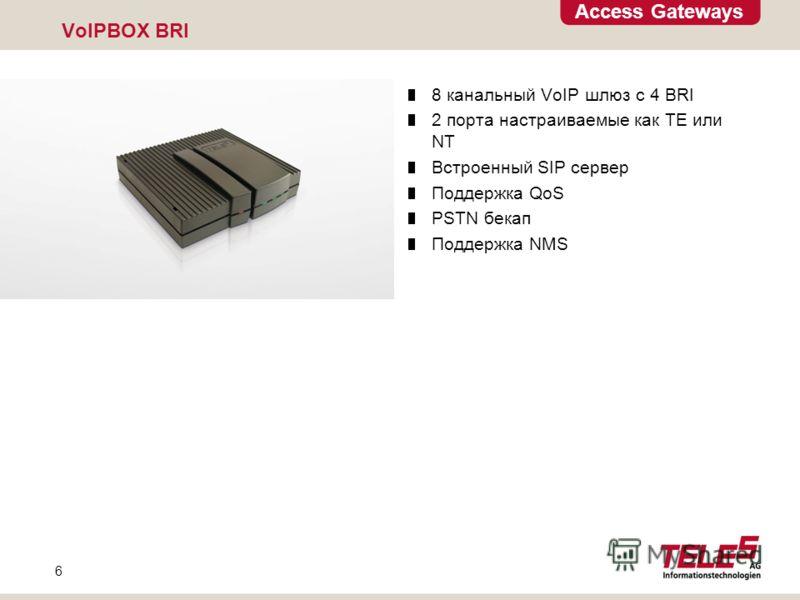 Access Gateways 6 VoIPBOX BRI 8 канальный VoIP шлюз с 4 BRI 2 порта настраиваемые как TE или NT Встроенный SIP сервер Поддержка QoS PSTN бекап Поддержка NMS