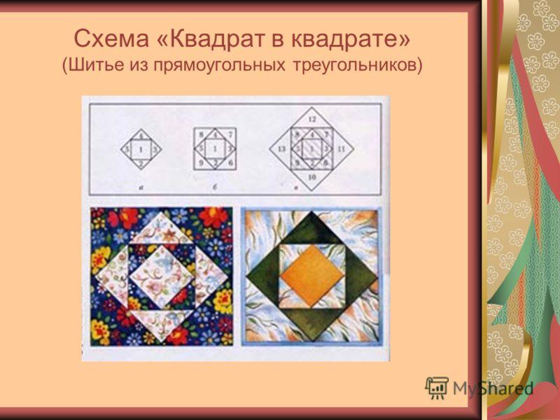 Схема «Квадрат в квадрате» (Шитье из прямоугольных треугольников)
