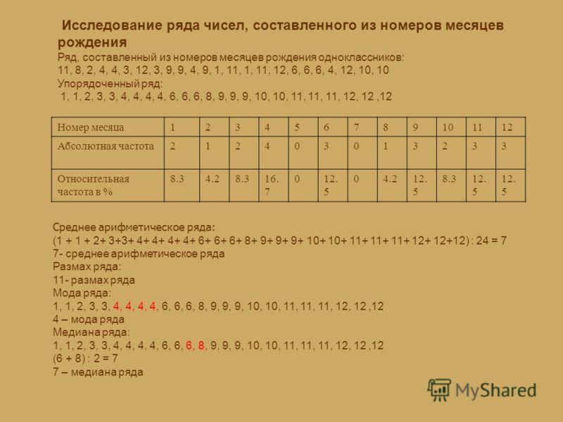 Исследование ряда чисел, составленного из номеров месяцев рождения Ряд, составленный из номеров месяцев рождения одноклассников: 11, 8, 2, 4, 4, 3, 12, 3, 9, 9, 4, 9, 1, 11, 1, 11, 12, 6, 6, 6, 4, 12, 10, 10 Упорядоченный ряд: 1, 1, 2, 3, 3, 4, 4, 4,