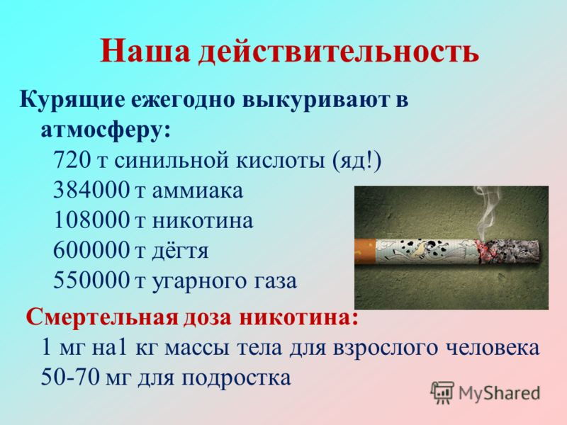 Наша действительность Курящие ежегодно выкуривают в атмосферу: 720 т синильной кислоты (яд!) 384000 т аммиака 108000 т никотина 600000 т дёгтя 550000 т угарного газа Смертельная доза никотина: 1 мг на1 кг массы тела для взрослого человека 50-70 мг дл