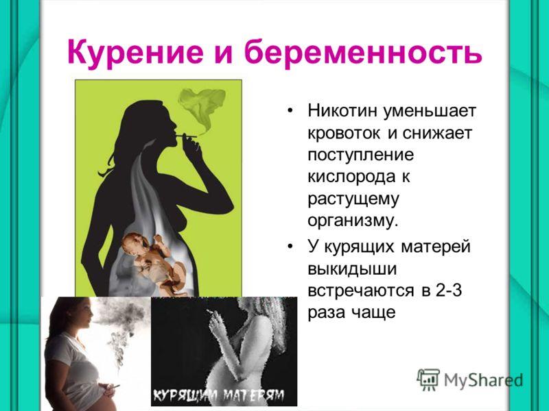 Курение и беременность Никотин уменьшает кровоток и снижает поступление кислорода к растущему организму. У курящих матерей выкидыши встречаются в 2-3 раза чаще