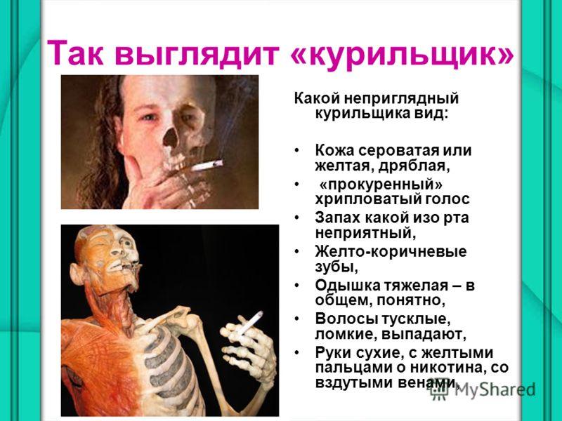 Так выглядит «курильщик» Какой неприглядный курильщика вид: Кожа сероватая или желтая, дряблая, «прокуренный» хрипловатый голос Запах какой изо рта неприятный, Желто-коричневые зубы, Одышка тяжелая – в общем, понятно, Волосы тусклые, ломкие, выпадают
