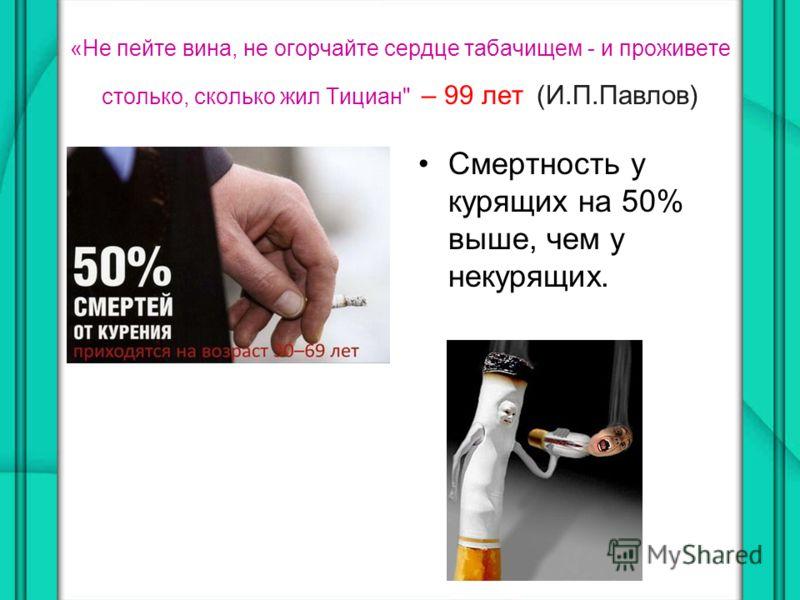 «Не пейте вина, не огорчайте сердце табачищем - и проживете столько, сколько жил Тициан – 99 лет (И.П.Павлов) Смертность у курящих на 50% выше, чем у некурящих.
