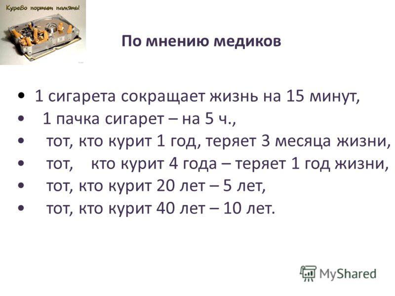 1 сигарета сокращает жизнь на 15 минут, 1 пачка сигарет – на 5 ч., тот, кто курит 1 год, теряет 3 месяца жизни, тот, кто курит 4 года – теряет 1 год жизни, тот, кто курит 20 лет – 5 лет, тот, кто курит 40 лет – 10 лет. По мнению медиков