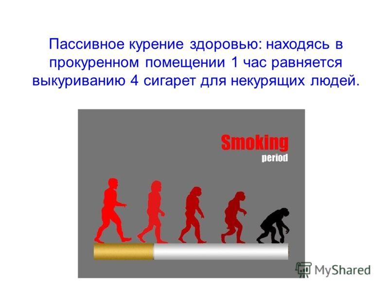 Пассивное курение здоровью: находясь в прокуренном помещении 1 час равняется выкуриванию 4 сигарет для некурящих людей.