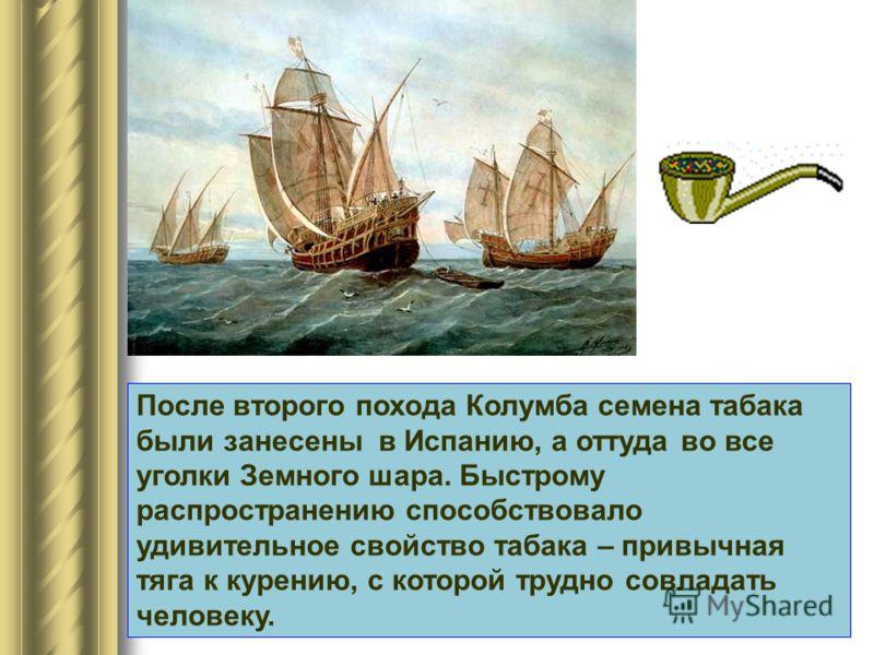 После второго похода Колумба семена табака были занесены в Испанию, а оттуда во все уголки Земного шара. Быстрому распространению способствовало удивительное свойство табака – привычная тяга к курению, с которой трудно совладать человеку.