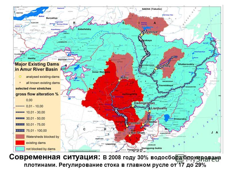 Современная ситуация: В 2008 году 30% водосбора блокирована плотинами. Регулирование стока в главном русле от 17 до 29%