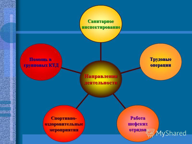 Направлениядеятельности Санитарноеинспектирование Трудовыеоперации РаботашефскихотрядовСпортивно-оздоровительныемероприятия Помощь в групповых КТД