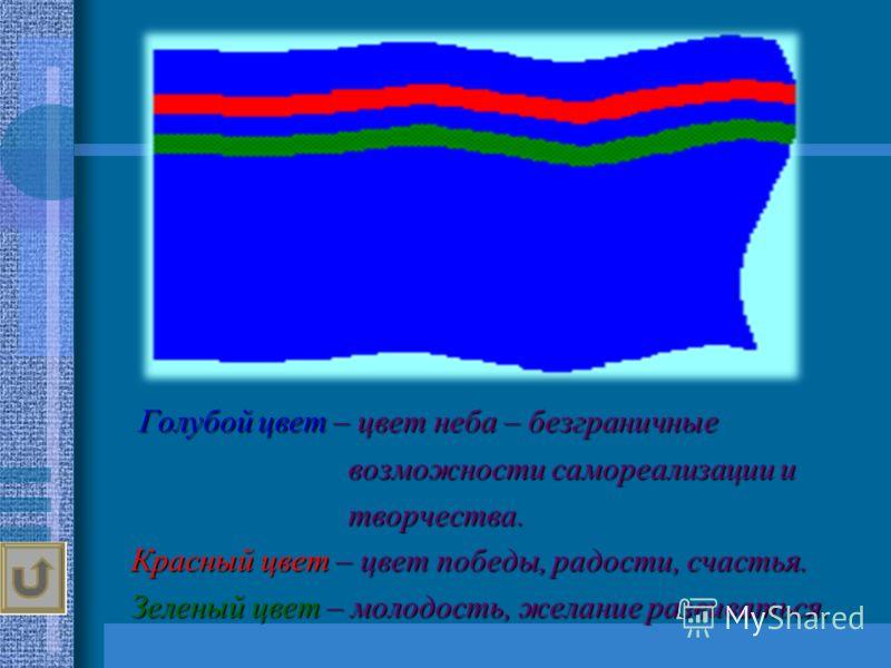 Голубой цвет – цвет неба – безграничные возможности самореализации и возможности самореализации и творчества. творчества. Красный цвет – цвет победы, радости, счастья. Красный цвет – цвет победы, радости, счастья. Зеленый цвет – молодость, желание ра