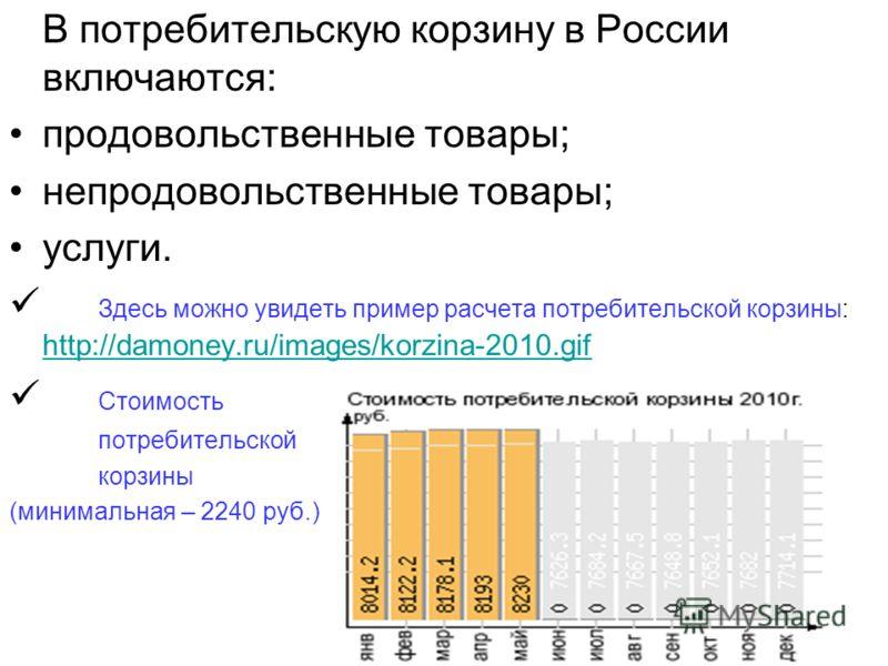 В потребительскую корзину в России включаются: продовольственные товары; непродовольственные товары; услуги. Здесь можно увидеть пример расчета потребительской корзины: http://damoney.ru/images/korzina-2010.gif http://damoney.ru/images/korzina-2010.g