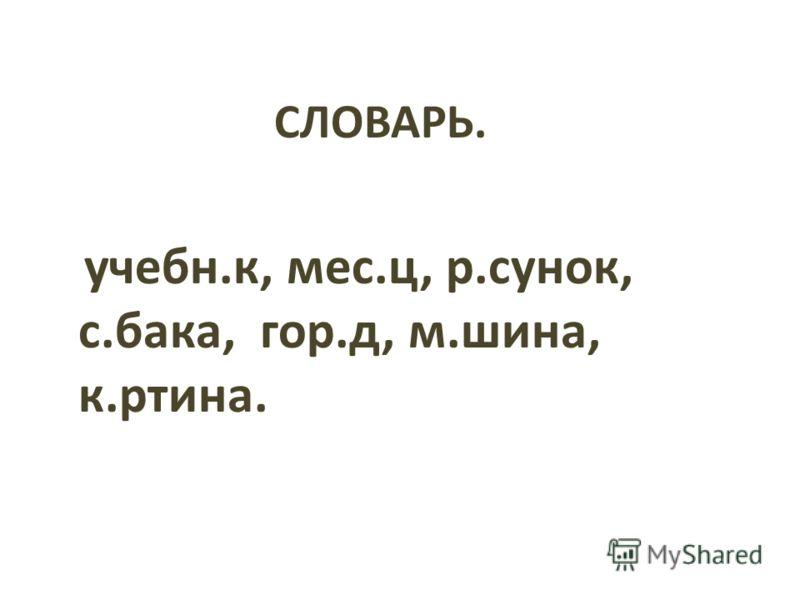 СЛОВАРЬ. учебн.к, мес.ц, р.сунок, с.бака, гор.д, м.шина, к.ртина.