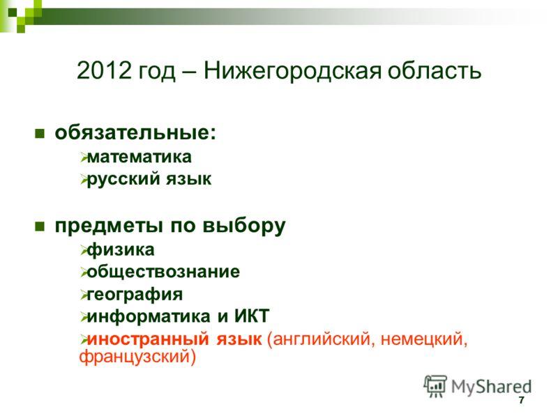 7 2012 год – Нижегородская область обязательные: математика русский язык предметы по выбору физика обществознание география информатика и ИКТ иностранный язык (английский, немецкий, французский)