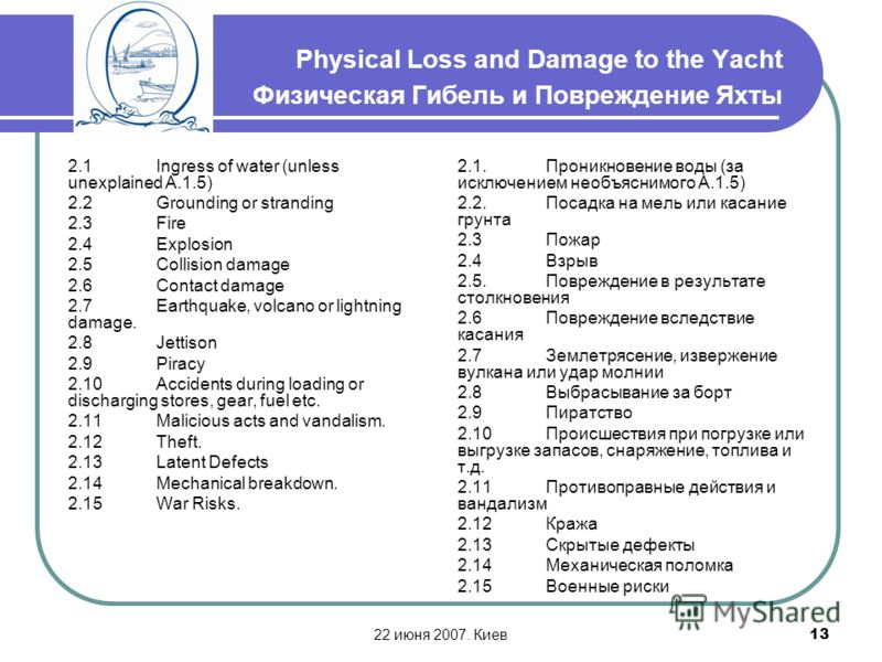 22 июня 2007. Киев13 Physical Loss and Damage to the Yacht Физическая Гибель и Повреждение Яхты 2.1Ingress of water (unless unexplained A.1.5) 2.2Grounding or stranding 2.3Fire 2.4Explosion 2.5Collision damage 2.6Contact damage 2.7Earthquake, volcano
