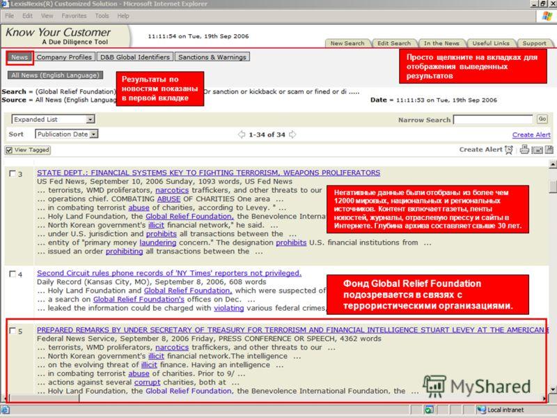 LexisNexis Для служебного пользования Негативные данные были отобраны из более чем 12000 мировых, национальных и региональных источников. Контент включает газеты, ленты новостей, журналы, отраслевую прессу и сайты в Интернете. Глубина архива составля