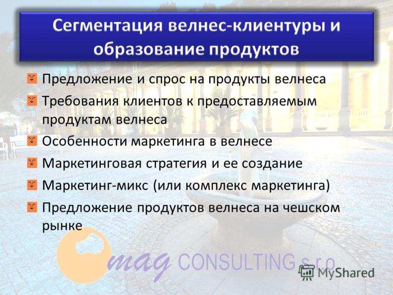 Предложение и спрос на продукты велнеса Требования клиентов к предоставляемым продуктам велнеса Особенности маркетинга в велнесе Маркетинговая стратегия и ее создание Маркетинг-микс (или комплекс маркетинга) Предложение продуктов велнеса на чешском р