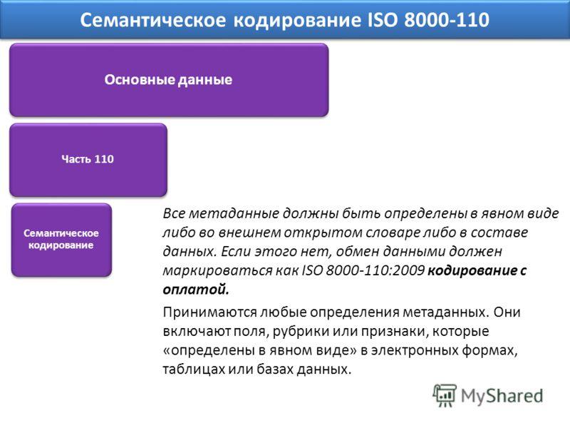 Все метаданные должны быть определены в явном виде либо во внешнем открытом словаре либо в составе данных. Если этого нет, обмен данными должен маркироваться как ISO 8000-110:2009 кодирование с оплатой. Принимаются любые определения метаданных. Они в