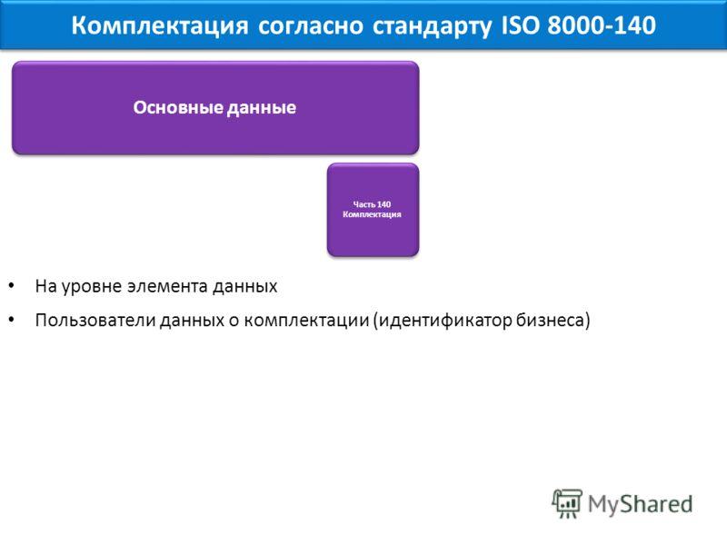 На уровне элемента данных Пользователи данных о комплектации (идентификатор бизнеса) Комплектация согласно стандарту ISO 8000-140 Основные данные Часть 140 Комплектация