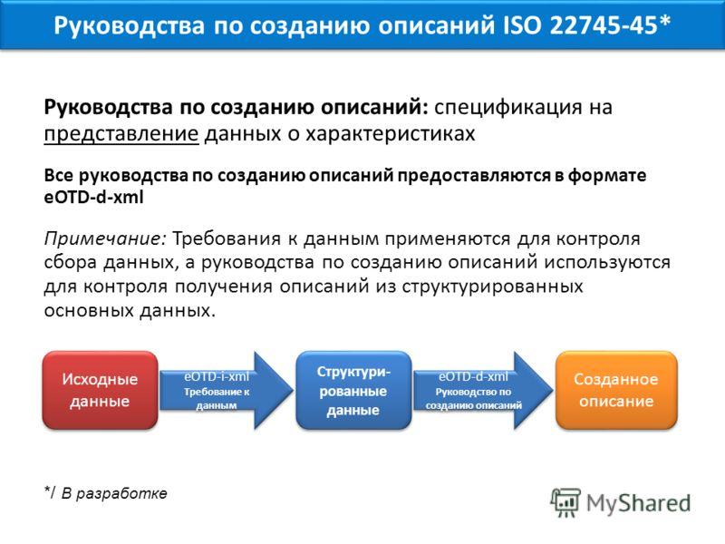 Руководства по созданию описаний: спецификация на представление данных о характеристиках Все руководства по созданию описаний предоставляются в формате eOTD-d-xml Примечание: Требования к данным применяются для контроля сбора данных, а руководства по