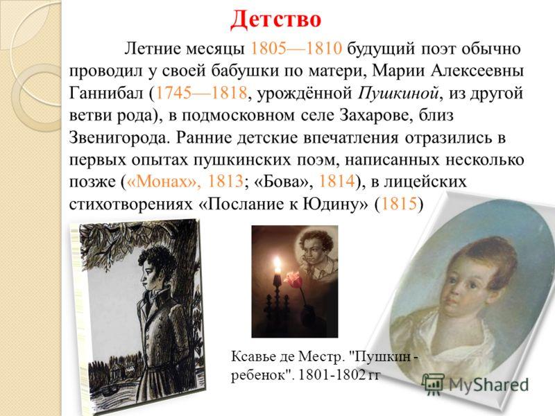 Детство Летние месяцы 18051810 будущий поэт обычно проводил у своей бабушки по матери, Марии Алексеевны Ганнибал (17451818, урождённой Пушкиной, из другой ветви рода), в подмосковном селе Захарове, близ Звенигорода. Ранние детские впечатления отразил