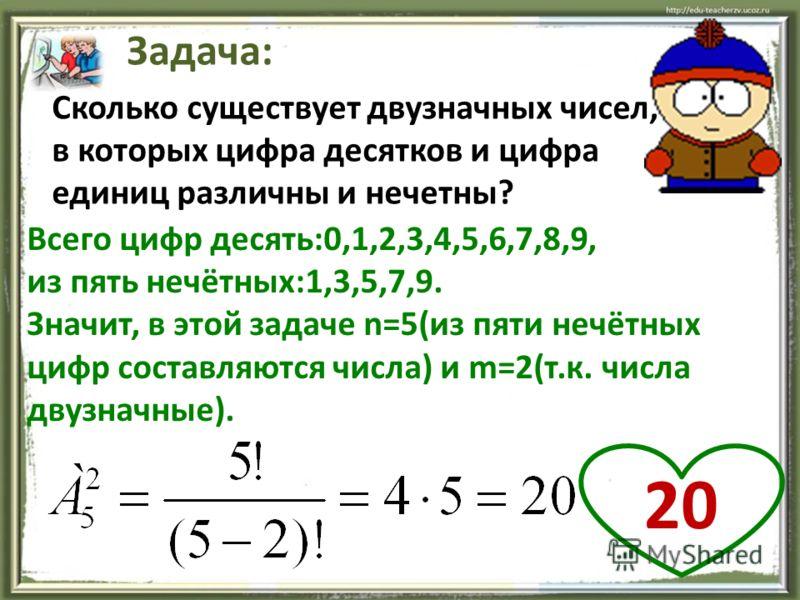 Сколько существует двузначных чисел, в которых цифра десятков и цифра единиц различны и нечетны? Задача: Всего цифр десять:0,1,2,3,4,5,6,7,8,9, из пять нечётных:1,3,5,7,9. Значит, в этой задаче n=5(из пяти нечётных цифр составляются числа) и m=2(т.к.