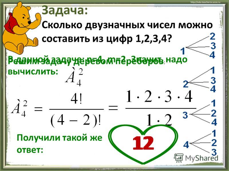 Сколько двузначных чисел можно составить из цифр 1,2,3,4? Задача: В данной задаче: n=4, m=2. Значит, надо вычислить: 12 Решим задачу деревом переборов : Получили такой же ответ: 12