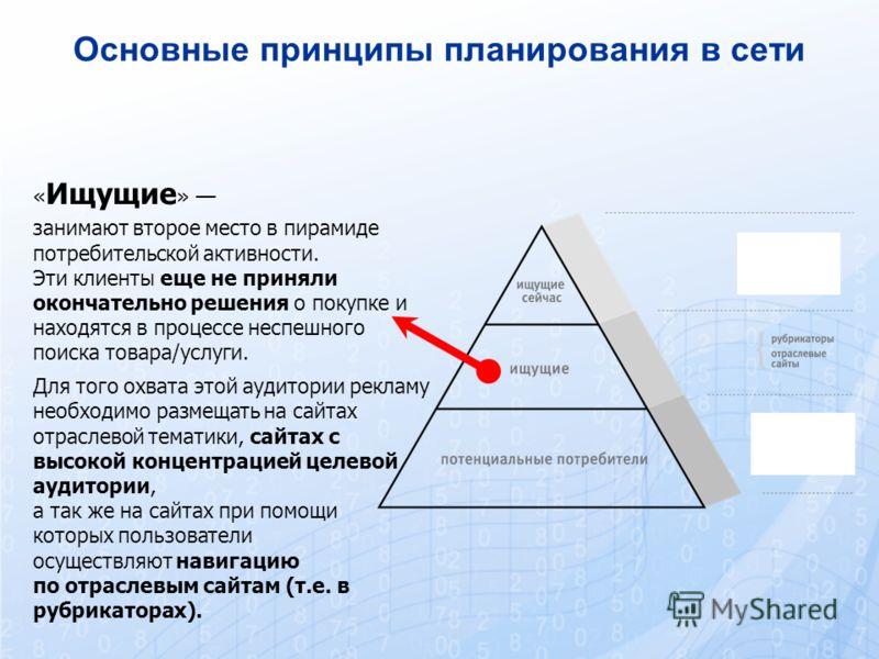 « Ищущие » занимают второе место в пирамиде потребительской активности. Эти клиенты еще не приняли окончательно решения о покупке и находятся в процессе неспешного поиска товара/услуги. Для того охвата этой аудитории рекламу необходимо размещать на с