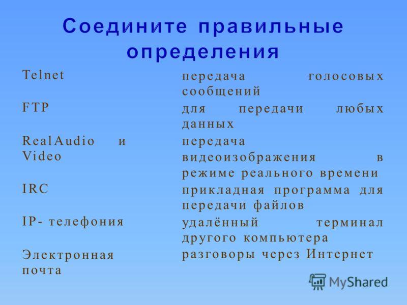 Telnetпередача голосовых сообщений FTPдля передачи любых данных RealAudio и Video передача видеоизображения в режиме реального времени IRC прикладная программа для передачи файлов IP- телефонияудалённый терминал другого компьютера Электронная почта р