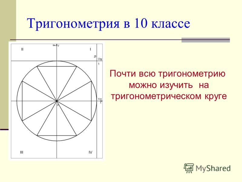 Проблема Можно ли изучить основы тригонометрии через тригонометрический круг? Определения; Значения; Свойства; Формулы; Решение уравнений; Решение неравенств.