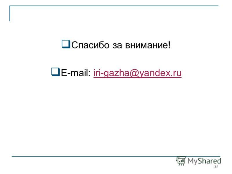 Спасибо за внимание! E-mail: iri-gazha@yandex.ruiri-gazha@yandex.ru 32