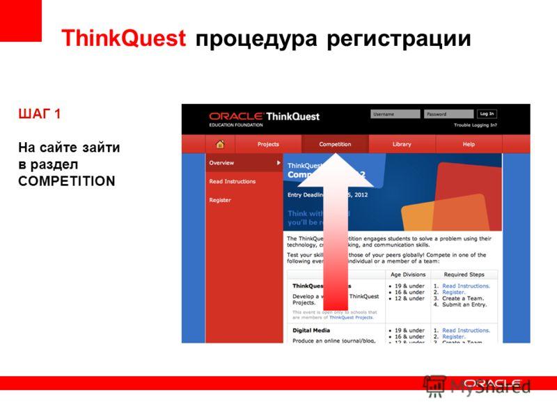 ThinkQuest процедура регистрации ШАГ 1 На сайте зайти в раздел COMPETITION
