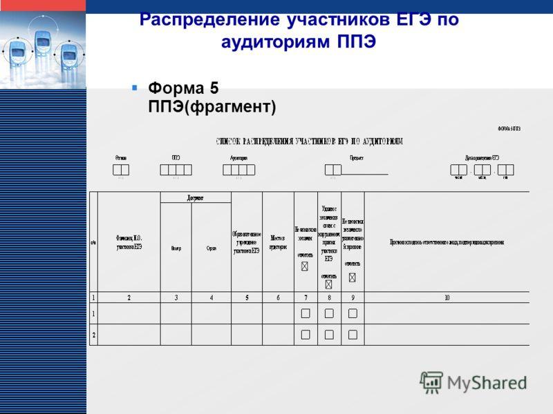 LOGO Распределение участников ЕГЭ по аудиториям ППЭ Форма 5 ППЭ(фрагмент)