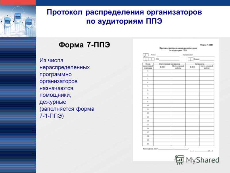 LOGO Протокол распределения организаторов по аудиториям ППЭ Форма 7-ППЭ Из числа нераспределенных программно организаторов назначаются помощники, дежурные (заполняется форма 7-1-ППЭ)