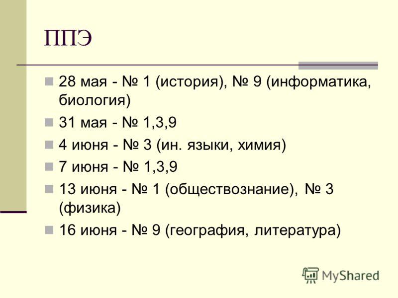 ППЭ 28 мая - 1 (история), 9 (информатика, биология) 31 мая - 1,3,9 4 июня - 3 (ин. языки, химия) 7 июня - 1,3,9 13 июня - 1 (обществознание), 3 (физика) 16 июня - 9 (география, литература)