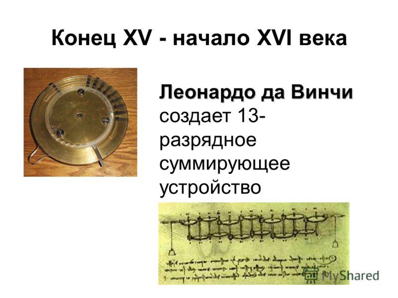 Конец XV - начало XVI века Леонардо да Винчи Леонардо да Винчи создает 13- разрядное суммирующее устройство