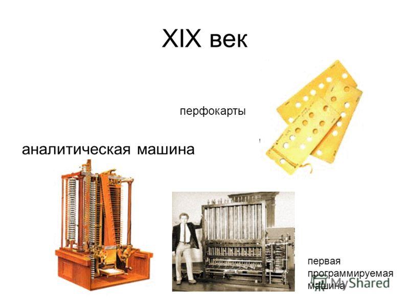 ХIХ век аналитическая машина первая программируемая машина перфокарты