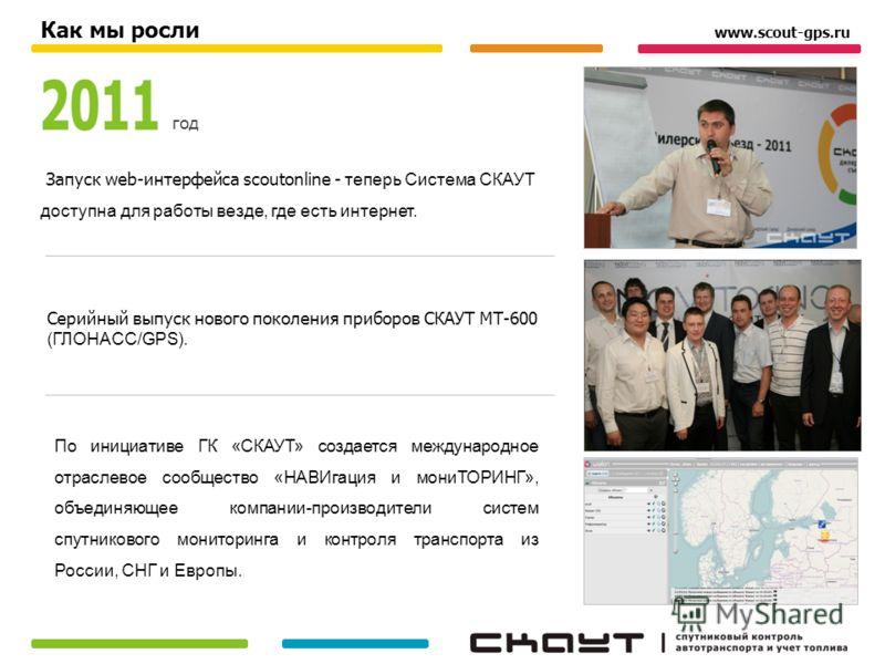 По инициативе ГК «СКАУТ» создается международное отраслевое сообщество «НАВИгация и мониТОРИНГ», объединяющее компании-производители систем спутникового мониторинга и контроля транспорта из России, СНГ и Европы. www.scout-gps.ru год Как мы росли Запу