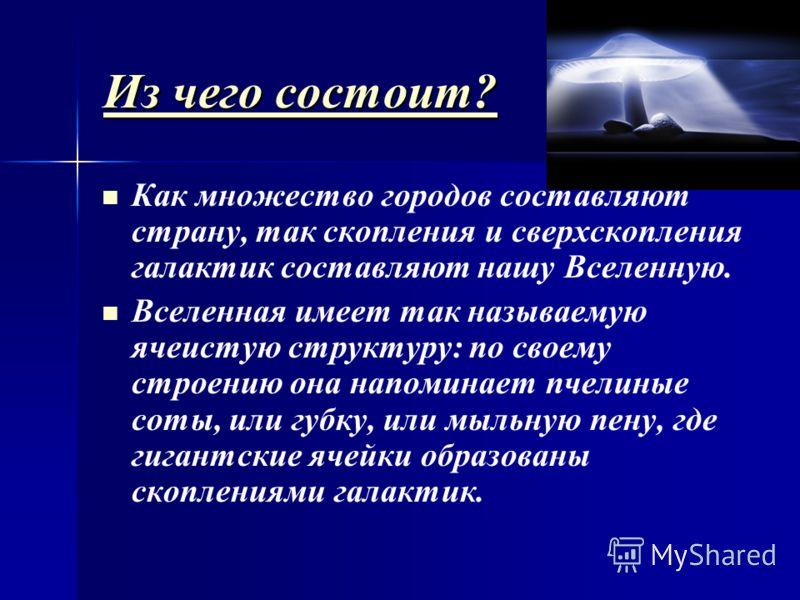 ИИИИ зззз ч ч ч ч ееее гггг оооо с с с с оооо сссс тттт оооо ииии тттт ???? Как множество городов составляют страну, так скопления и сверхскопления галактик составляют нашу Вселенную. Вселенная имеет так называемую ячеистую структуру: по своему строе