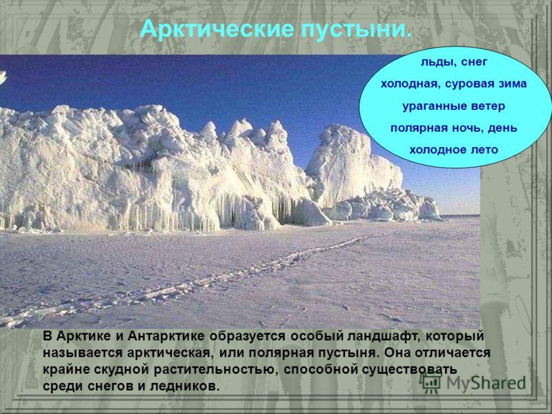 Арктические пустыни. В Арктике и Антарктике образуется особый ландшафт, который называется арктическая, или полярная пустыня. Она отличается крайне скудной растительностью, способной существовать среди снегов и ледников. льды, снег холодная, суровая