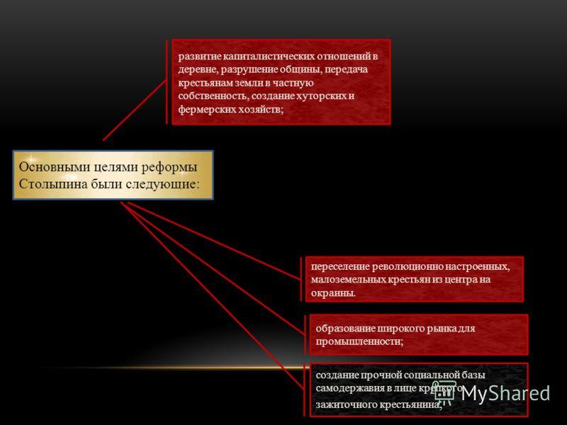 Основными целями реформы Столыпина были следующие: переселение революционно настроенных, малоземельных крестьян из центра на окраины. образование широкого рынка для промышленности; создание прочной социальной базы самодержавия в лице крепкого зажиточ
