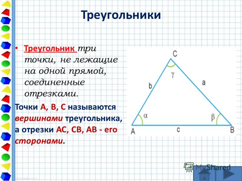 Треугольники Треугольник три точки, не лежащие на одной прямой, соединенные отрезками. Точки А, В, С называются вершинами треугольника, а отрезки АС, СВ, АВ - его сторонами.