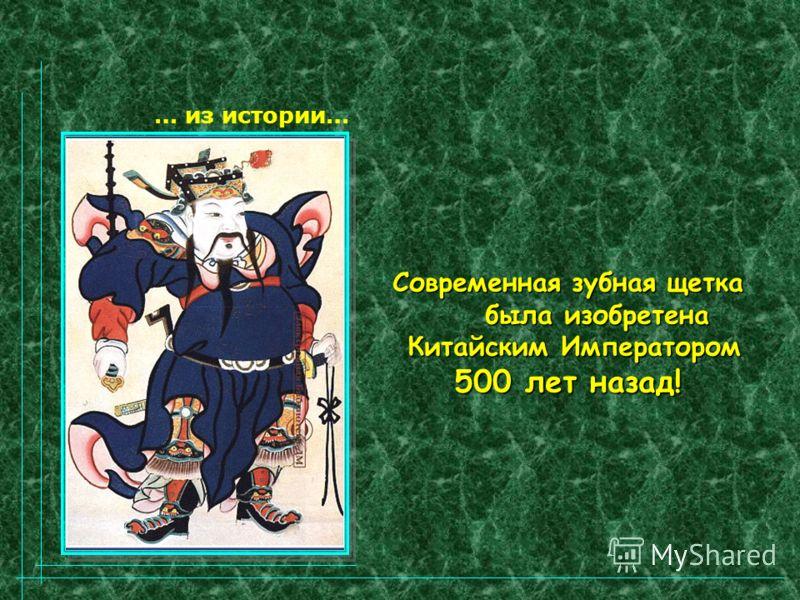 … из истории… Современная зубная щетка была изобретена была изобретена Китайским Императором Китайским Императором 500 лет назад!